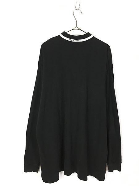 [3] 古着 90s Ralph Lauren SPORT ポロスポ 星条旗 モノトーン ロングスリーブ ポロシャツ ロンポロ XL 古着