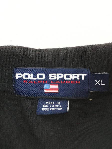 [5] 古着 90s Ralph Lauren SPORT ポロスポ 星条旗 モノトーン ロングスリーブ ポロシャツ ロンポロ XL 古着