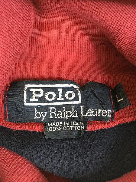 [5] 古着 90s USA製 POLO Ralph Lauren マルチボーダー タートルネック カットソー ロンT L 古着