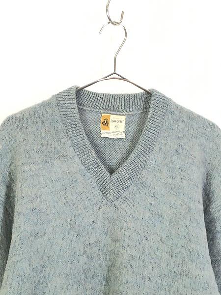 [2] 古着 60s Penney's Towncraft ソリッド シャギー モヘア ウール ニット セーター XL 古着
