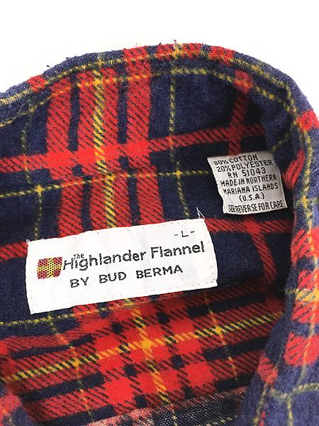 [5] 古着 80s Highlander Flannel by BUD BERMA チェック フランネル シャツ ネルシャツ L 古着