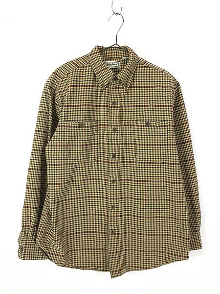 [1] 古着 90s LL Bean チェック柄 シャモアクロス フランネル シャツ ネルシャツ M 古着