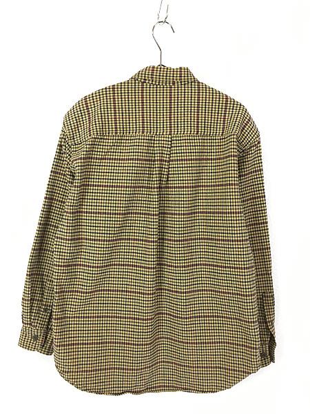 [3] 古着 90s LL Bean チェック柄 シャモアクロス フランネル シャツ ネルシャツ M 古着