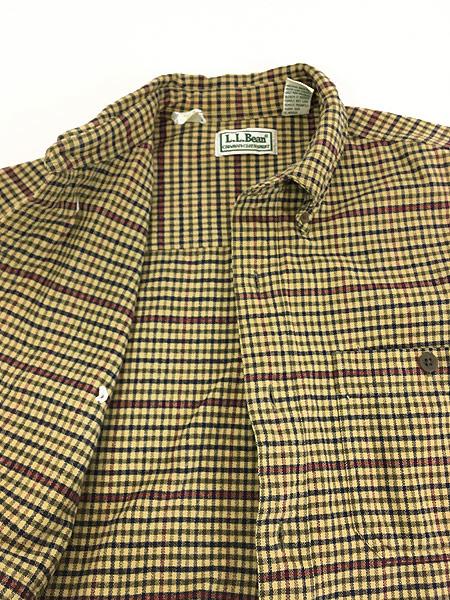 [5] 古着 90s LL Bean チェック柄 シャモアクロス フランネル シャツ ネルシャツ M 古着