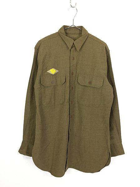 [1] 古着 40s 米軍 「M-1937」 ミリタリー フランネル ウール マスタード シャツ 15 1/2 美品!! 古着