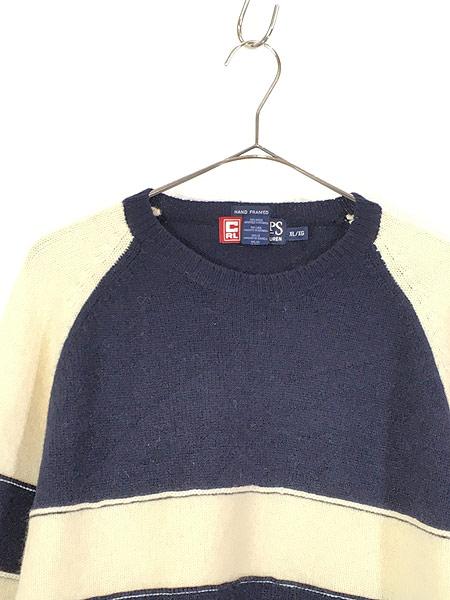 [2] 古着 90s CHAPS Ralph Lauren ラルフ バイカラー 切替 ソリッド ウール ニット セーター XL 古着
