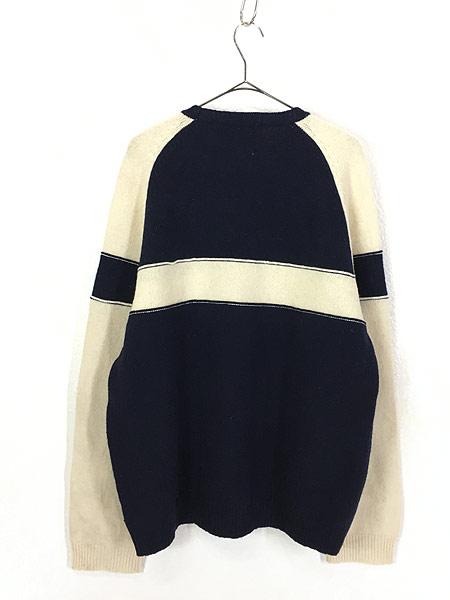 [3] 古着 90s CHAPS Ralph Lauren ラルフ バイカラー 切替 ソリッド ウール ニット セーター XL 古着