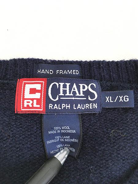 [5] 古着 90s CHAPS Ralph Lauren ラルフ バイカラー 切替 ソリッド ウール ニット セーター XL 古着