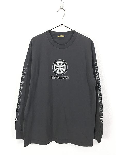 [1] 古着 90s USA製 INDEPENDENT アイアンクロス パターン オールド スケート ロング Tシャツ ロンT L 古着