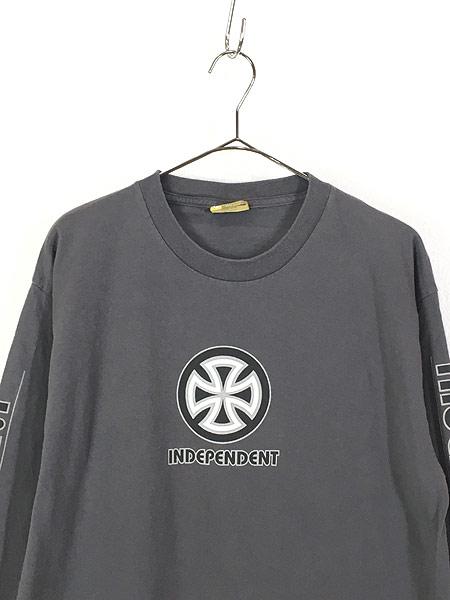 [2] 古着 90s USA製 INDEPENDENT アイアンクロス パターン オールド スケート ロング Tシャツ ロンT L 古着