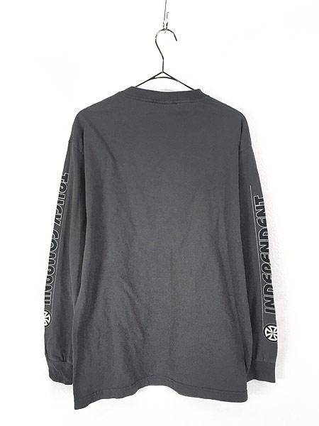 [3] 古着 90s USA製 INDEPENDENT アイアンクロス パターン オールド スケート ロング Tシャツ ロンT L 古着