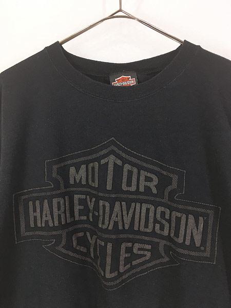 [2] 古着 90s USA製 HARLEY DAVIDSON シールド&バー 発泡 オールブラック ロング Tシャツ ロンT XXL 古着