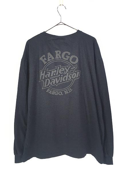 [3] 古着 90s USA製 HARLEY DAVIDSON シールド&バー 発泡 オールブラック ロング Tシャツ ロンT XXL 古着