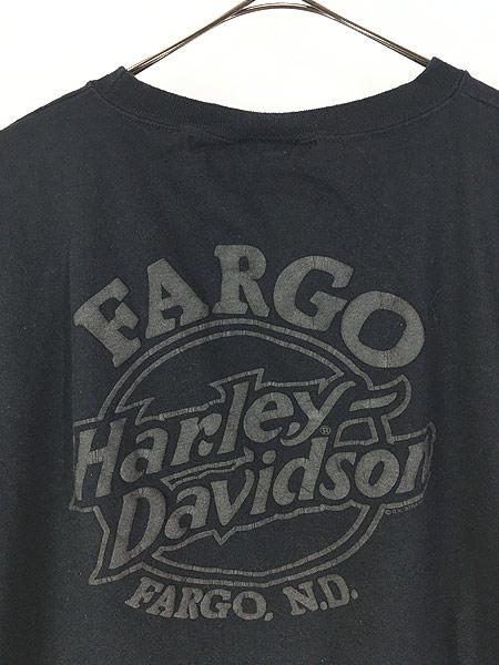 [4] 古着 90s USA製 HARLEY DAVIDSON シールド&バー 発泡 オールブラック ロング Tシャツ ロンT XXL 古着