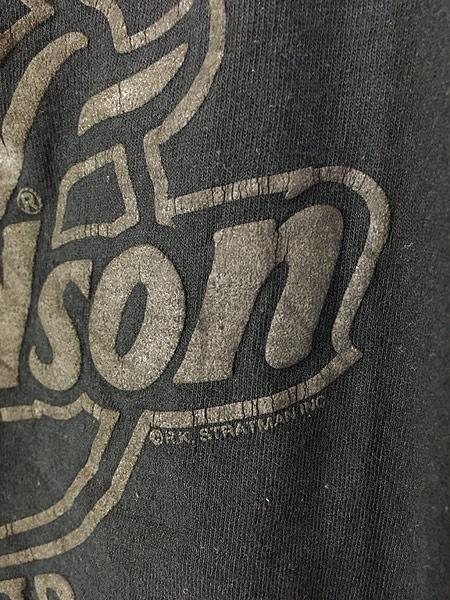 [5] 古着 90s USA製 HARLEY DAVIDSON シールド&バー 発泡 オールブラック ロング Tシャツ ロンT XXL 古着