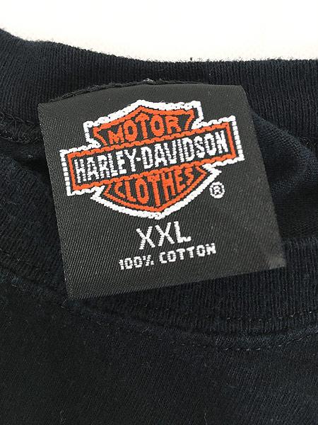 [7] 古着 90s USA製 HARLEY DAVIDSON シールド&バー 発泡 オールブラック ロング Tシャツ ロンT XXL 古着