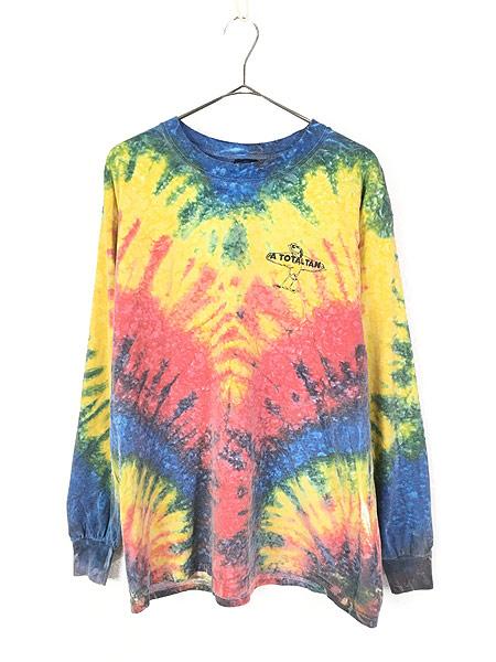 [1] 古着 90s USA製 「A TOTAL TAN」 ワンポイント パステル タイダイ ロング Tシャツ ロンT L 古着