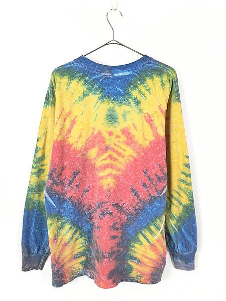 [2] 古着 90s USA製 「A TOTAL TAN」 ワンポイント パステル タイダイ ロング Tシャツ ロンT L 古着