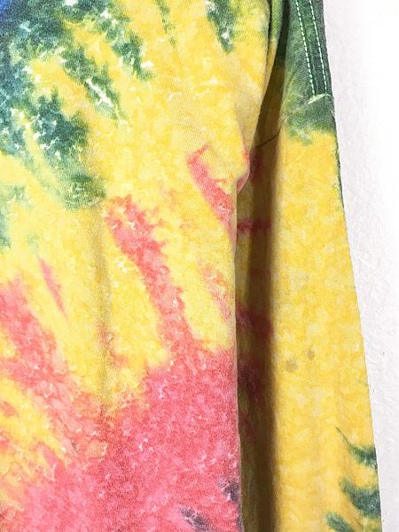 [3] 古着 90s USA製 「A TOTAL TAN」 ワンポイント パステル タイダイ ロング Tシャツ ロンT L 古着