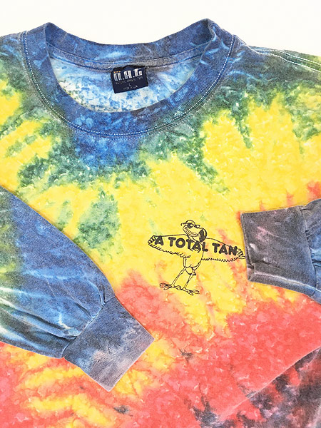 [4] 古着 90s USA製 「A TOTAL TAN」 ワンポイント パステル タイダイ ロング Tシャツ ロンT L 古着