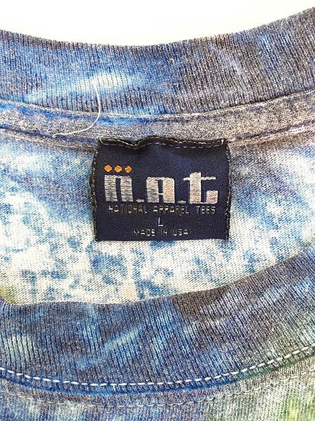 [5] 古着 90s USA製 「A TOTAL TAN」 ワンポイント パステル タイダイ ロング Tシャツ ロンT L 古着