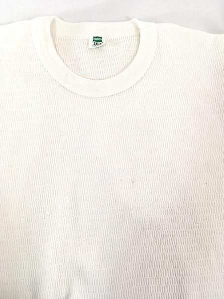 [5] 古着 70s Hanes 針抜きリブ オールド ハニーカム サーマル シャツ トップス ロング丈 BIGサイズ 3XL 古着