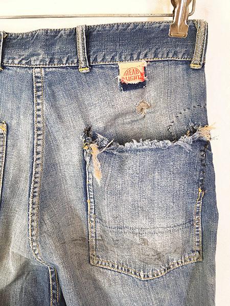 [5] 古着 50s HEAD LIGHT 名作 サイド フラップ ポケット デニム ワーク ペインター パンツ BORO W31 L31 古着