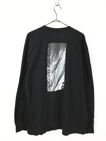 [3] 古着 TNF The North Face ノース ワンポイント 両面 BIG  ロングスリーブ Tシャツ ロンT XL 古着