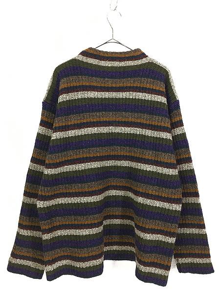 [3] 古着 90s TOMMY HILFIGER モックネック マルチ ボーダー ローゲージ ニット セーター XL 古着