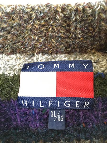 [6] 古着 90s TOMMY HILFIGER モックネック マルチ ボーダー ローゲージ ニット セーター XL 古着