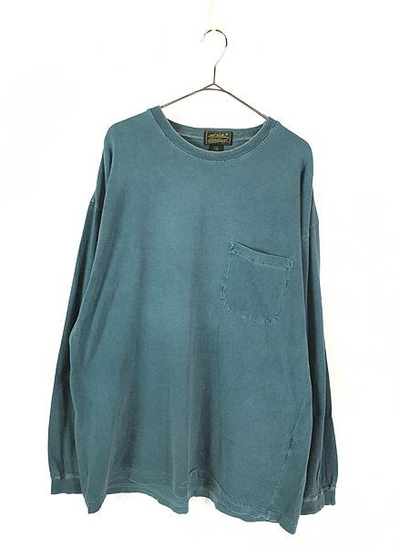 [1] 古着 80s USA製 Eddie Bauer 黒タグ ロングスリーブ ポケット Tシャツ ロンT ポケT L 古着