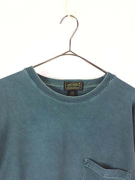 [2] 古着 80s USA製 Eddie Bauer 黒タグ ロングスリーブ ポケット Tシャツ ロンT ポケT L 古着