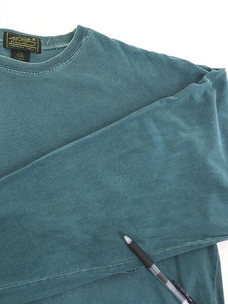 [5] 古着 80s USA製 Eddie Bauer 黒タグ ロングスリーブ ポケット Tシャツ ロンT ポケT L 古着