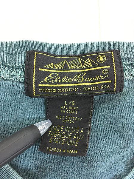 [7] 古着 80s USA製 Eddie Bauer 黒タグ ロングスリーブ ポケット Tシャツ ロンT ポケT L 古着