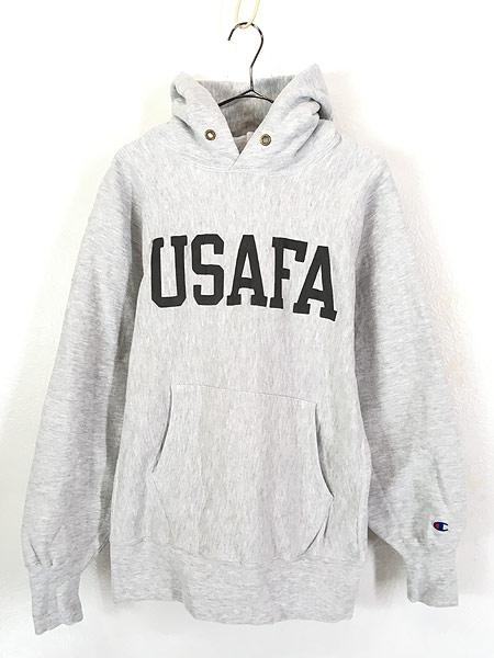 [1] 古着 90s USA製 Champion Reverse Weave 「USAFA」 両面 リフレクター リバース スウェット パーカー L 美品!! 古着