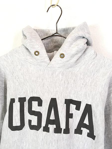 [2] 古着 90s USA製 Champion Reverse Weave 「USAFA」 両面 リフレクター リバース スウェット パーカー L 美品!! 古着