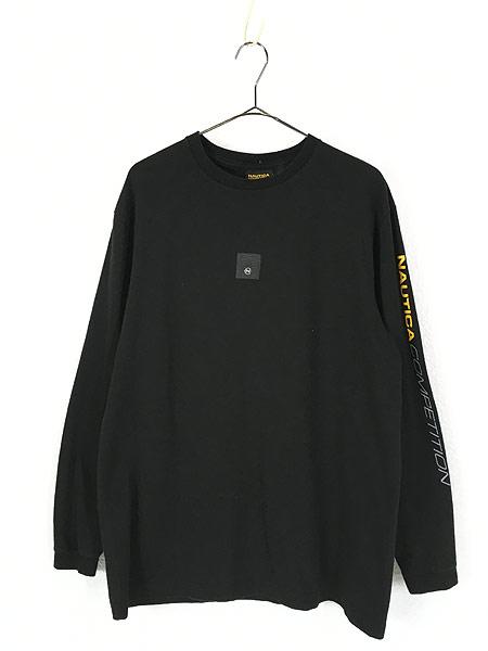 [1] 古着 USA製 Nautica 「COMPETITION」 アーム プリント 長袖 Tシャツ ロンT M 古着