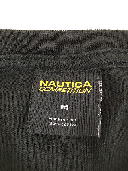 [5] 古着 USA製 Nautica 「COMPETITION」 アーム プリント 長袖 Tシャツ ロンT M 古着