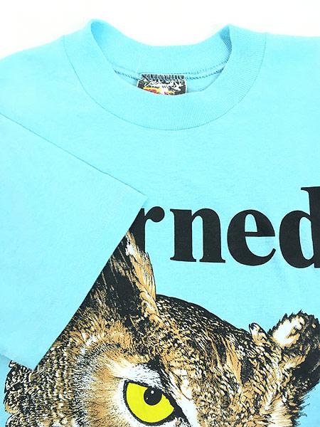[4] 古着 80s USA製 「Horned」 フクロウ BIG プリント Tシャツ L 古着