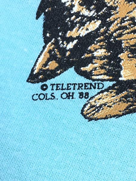 [5] 古着 80s USA製 「Horned」 フクロウ BIG プリント Tシャツ L 古着