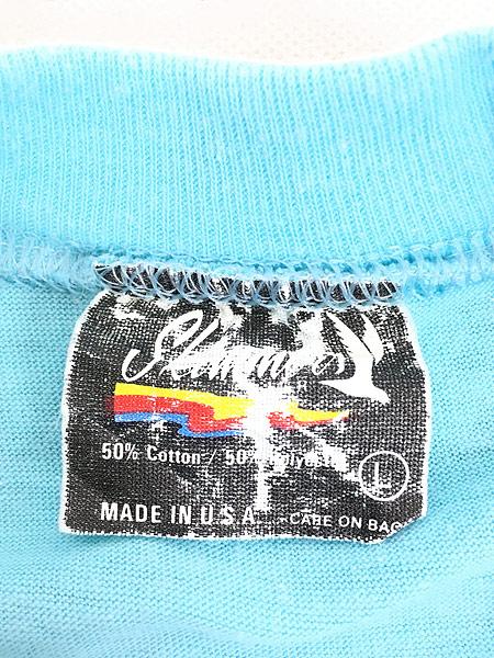 [6] 古着 80s USA製 「Horned」 フクロウ BIG プリント Tシャツ L 古着