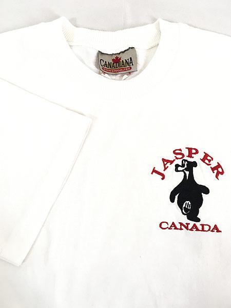 [4] 古着 90s 「JASPER」 クマ アニマル ワンポイント Tシャツ S 古着
