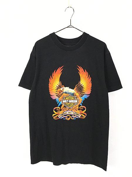 [1] 古着 90s USA製 HARLEY DAVIDSON イーグル モンスター アンクルサム Tシャツ L 古着
