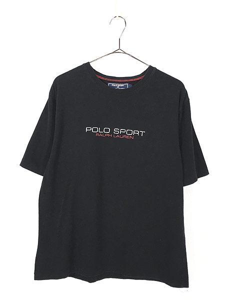 [1] 古着 POLO SPORT Ralph Lauren ポロスポ シンプル ロゴ ストレッチ Tシャツ 黒 XL 古着