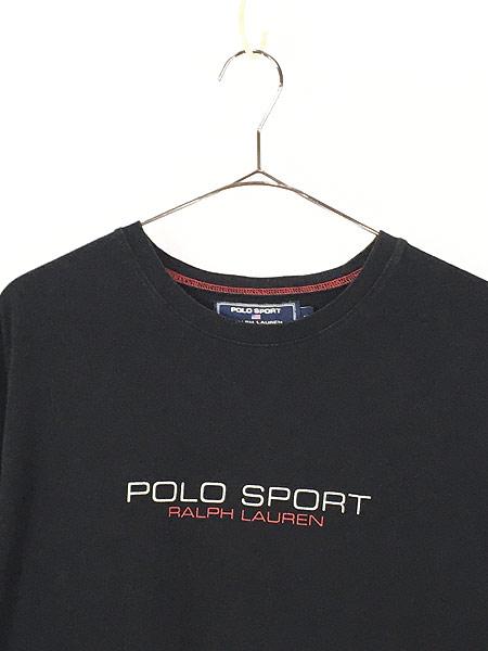 [2] 古着 POLO SPORT Ralph Lauren ポロスポ シンプル ロゴ ストレッチ Tシャツ 黒 XL 古着