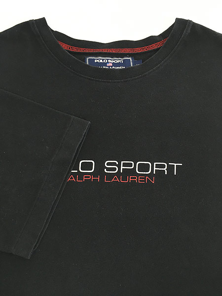 [4] 古着 POLO SPORT Ralph Lauren ポロスポ シンプル ロゴ ストレッチ Tシャツ 黒 XL 古着
