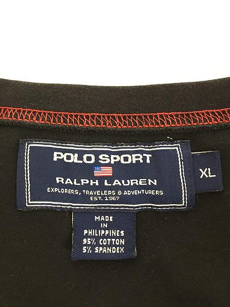 [5] 古着 POLO SPORT Ralph Lauren ポロスポ シンプル ロゴ ストレッチ Tシャツ 黒 XL 古着