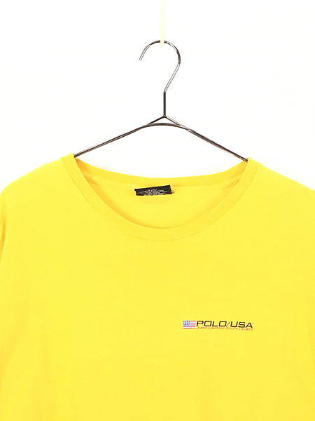 [2] 古着 90s POLO JEANS Ralph Lauren 星条旗 フラッグ ワンポイント Tシャツ XL 古着