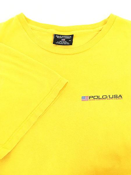 [4] 古着 90s POLO JEANS Ralph Lauren 星条旗 フラッグ ワンポイント Tシャツ XL 古着