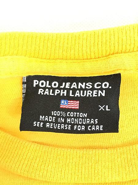 [5] 古着 90s POLO JEANS Ralph Lauren 星条旗 フラッグ ワンポイント Tシャツ XL 古着